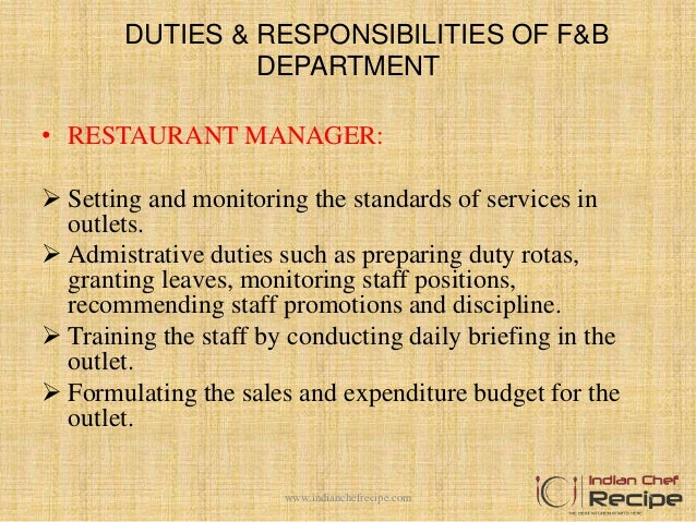 Organization chart of food and beverage department for Outlet b b