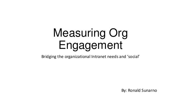 Measuring Org Engagement Bridging the organizational Intranet needs and 'social'  By: Ronald Sunarno