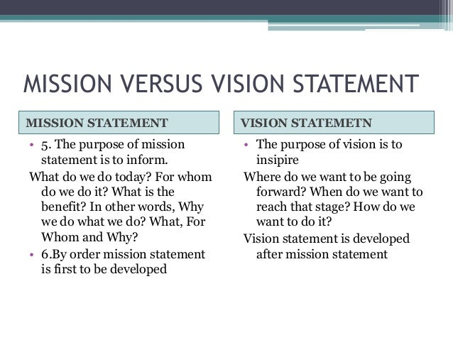purpose of mission and vision statements