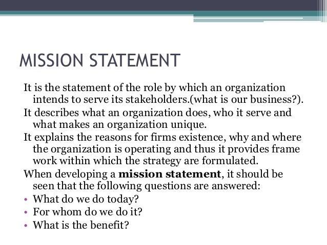Organization mission statement