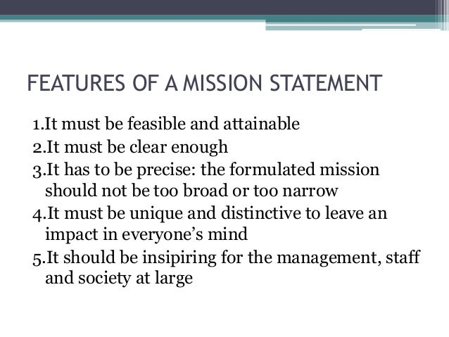 a mission statement describes an organisations Marketing strategy 2 learning objectives learning objectives fined as a process that describes the direction an organization will pursue within its mission statement reflects, although narrowly defined within the area of orthopedics.