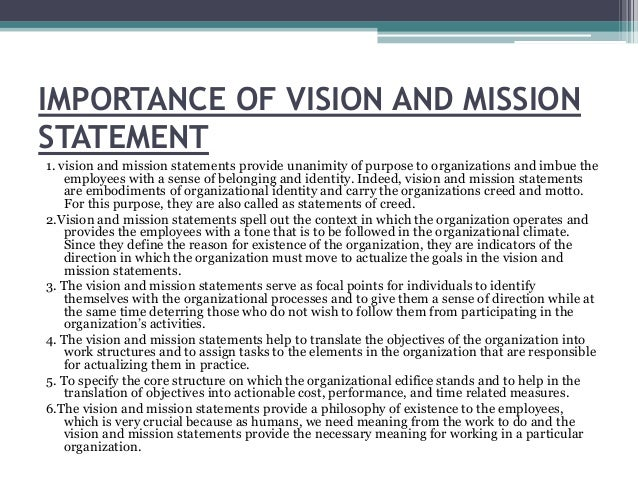 IMPORTANCE OF VISION AND MISSION STATEMENT ...