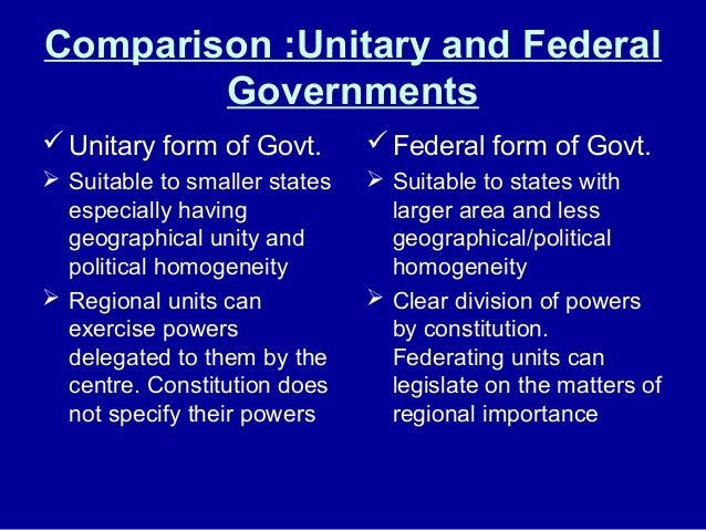 distinguish between federalism unitary and confedrate gove Get an answer for 'explain the difference between the unitary, confederal, and   in a federal system, power is shared between the central government and  a  confederate system features a weak central government and strong states or.