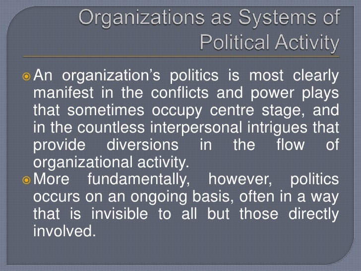 Organizations as political systems metaphor