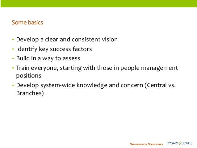ORGANIZATIONSTRUCTURES  Some basics  •Develop a clear and consistent vision  •Identify key success factors  •Build in a wa...