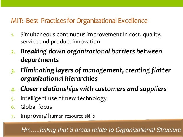 ORGANIZATIONSTRUCTURES  MIT: Best Practices for Organizational Excellence  1.Simultaneous continuous improvement in cost, ...