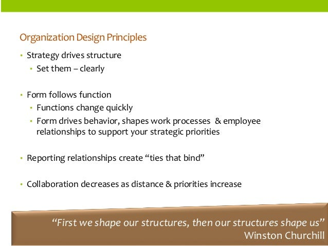 ORGANIZATIONSTRUCTURES  Organization Design Principles  •Strategy drives structure  •Set them –clearly  •Form follows func...