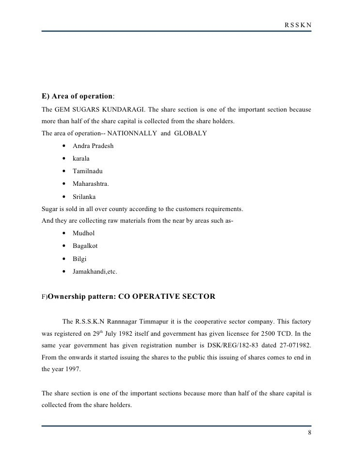 RSSKN     E) Area of operation: The GEM SUGARS KUNDARAGI. The share section is one of the important section because more t...