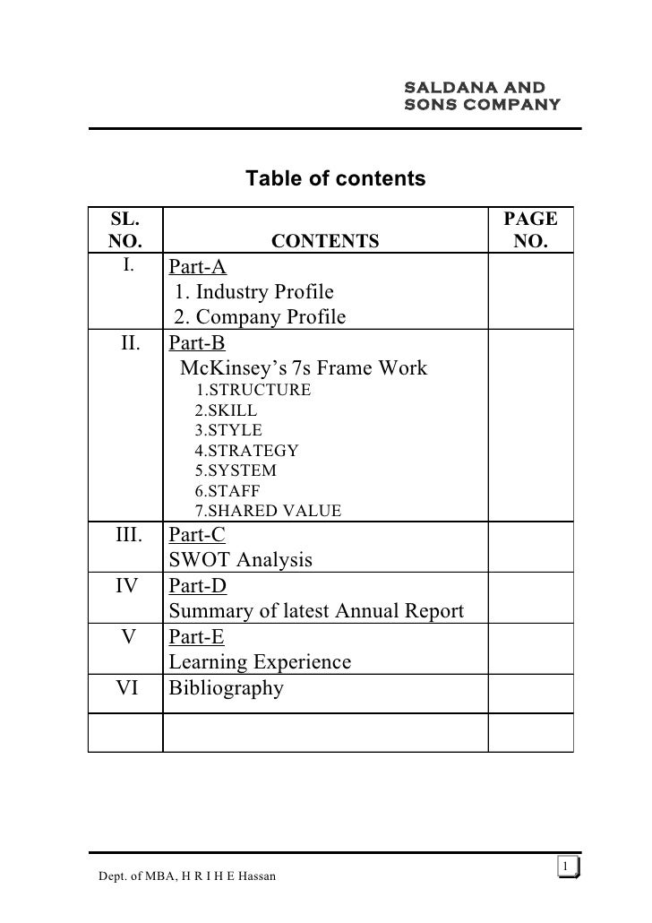 SALDANA AND                                         SONS COMPANY                            Table of contents  SL.        ...
