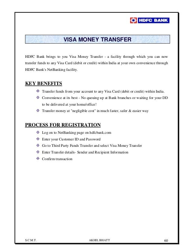 Transfer money from hdfc forex card