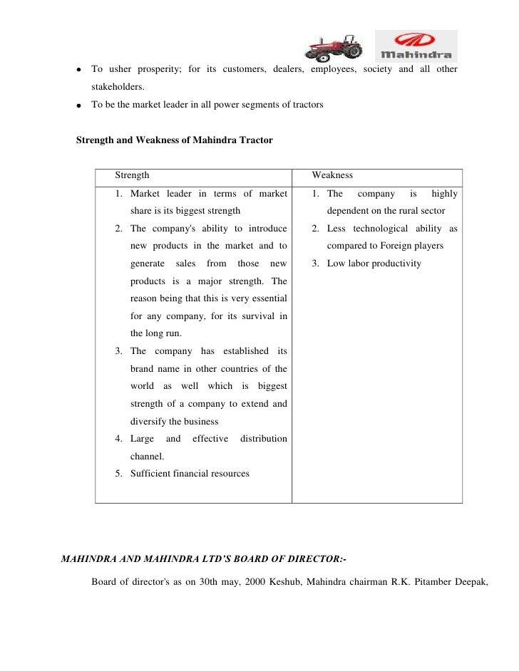 Organization study on m&m tractors