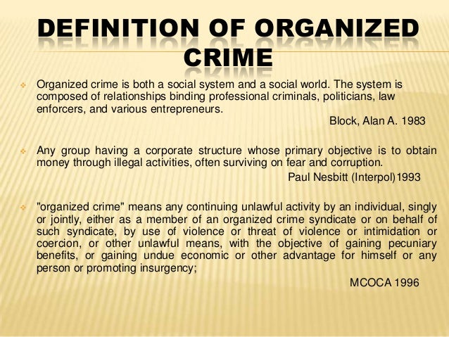 characteristics of organized crime