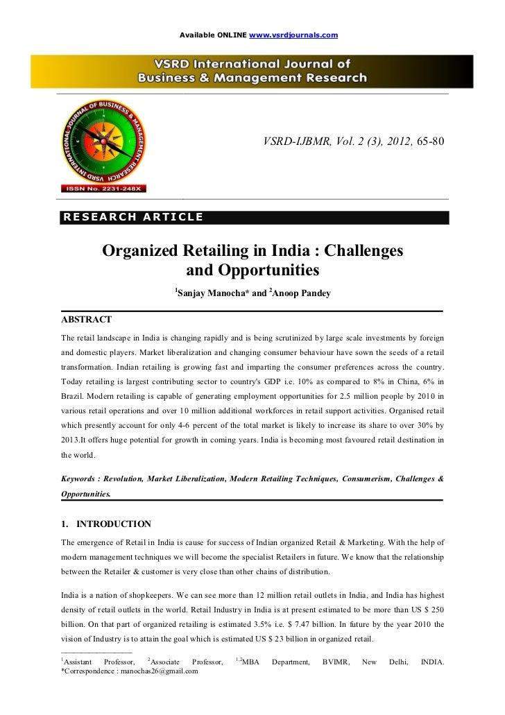 Available ONLINE www.vsrdjournals.com                                                                 VSRD-IJBMR, Vol. 2 (...