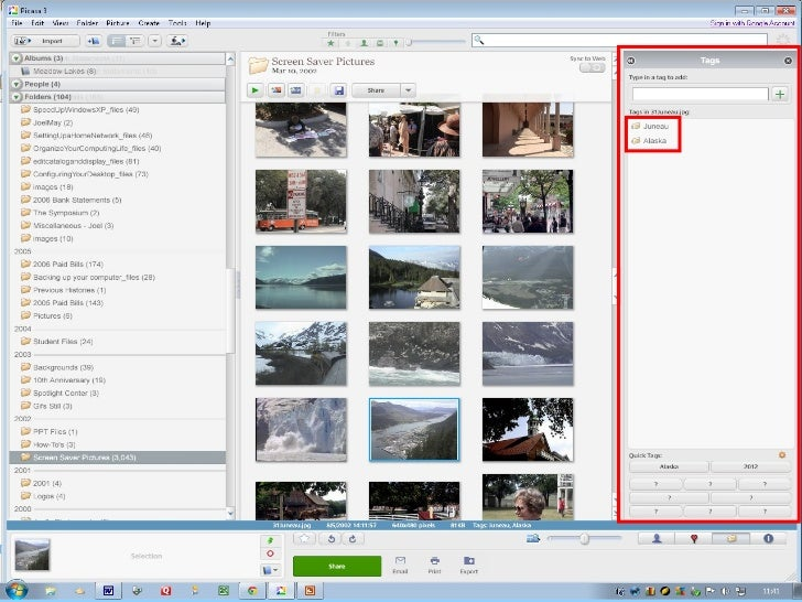W to Share Photos in Picasa      ays• Print the photos• Create a slide show•   Email the photos•   Create a Web album•   C...