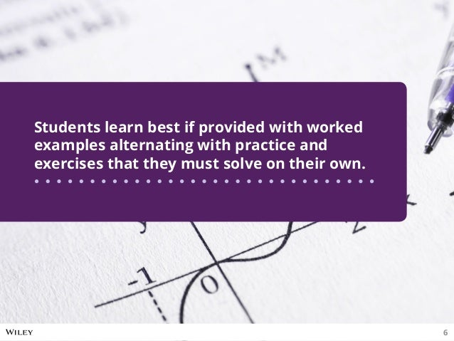 Students learn best if provided with worked examples alternating with practice and exercises that they must solve on their...