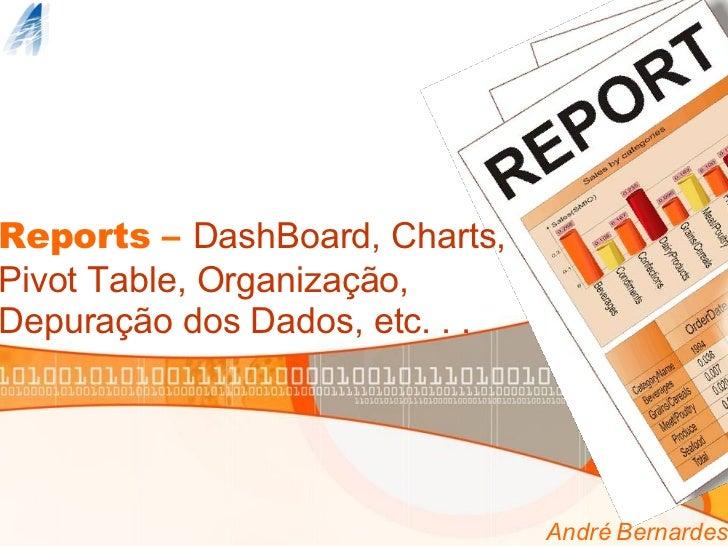 Reports –  DashBoard, Charts, Pivot Table, Organização, Depuração dos Dados, etc. . . André Bernardes