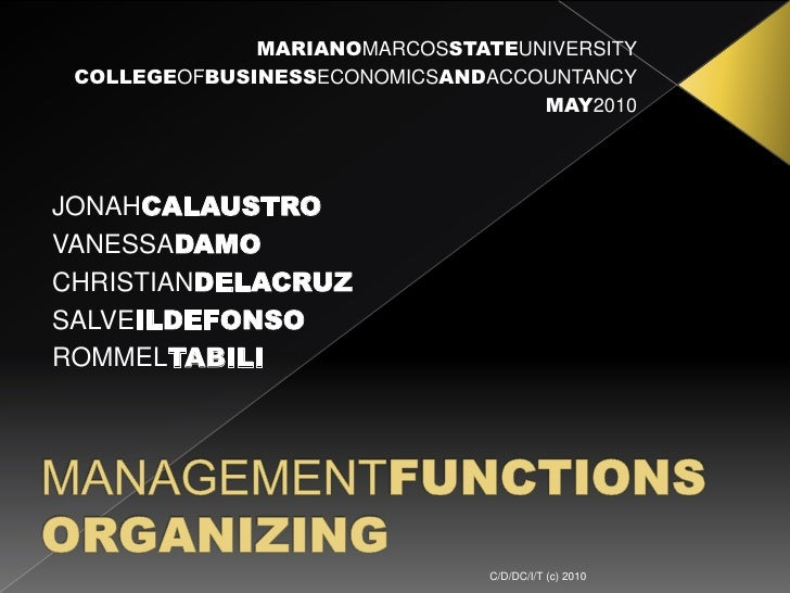 Organizing (Management Functions) Slide 2