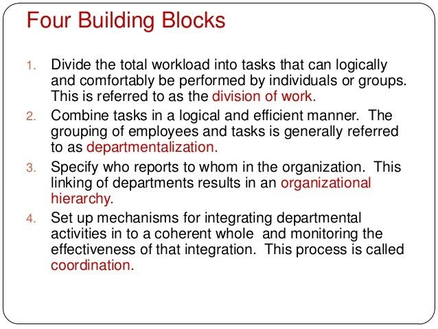 Four Building Blocks1. Divide the total workload into tasks that can logicallyand comfortably be performed by individuals ...