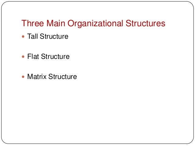 Three Main Organizational Structures Tall Structure Flat Structure Matrix Structure