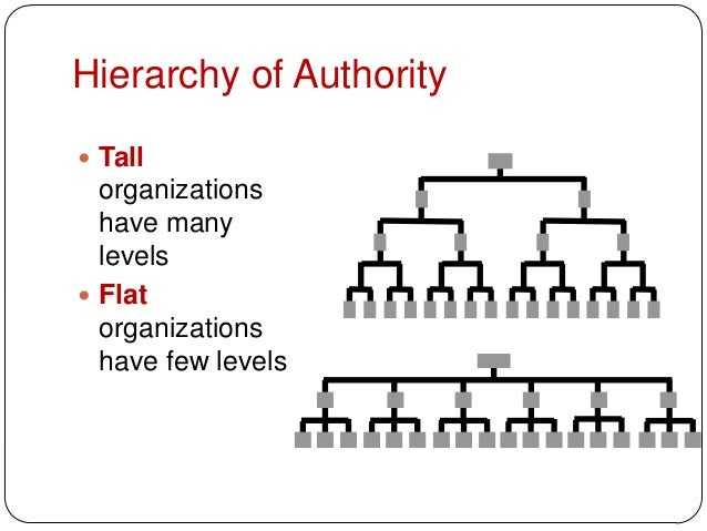 Hierarchy of Authority Tallorganizationshave manylevels Flatorganizationshave few levels