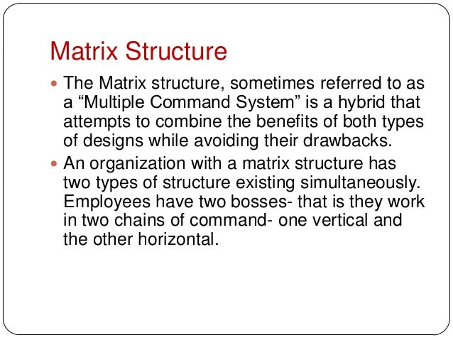 """Matrix Structure The Matrix structure, sometimes referred to asa """"Multiple Command System"""" is a hybrid thatattempts to co..."""