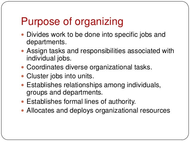 Purpose of organizing Divides work to be done into specific jobs anddepartments. Assign tasks and responsibilities assoc...
