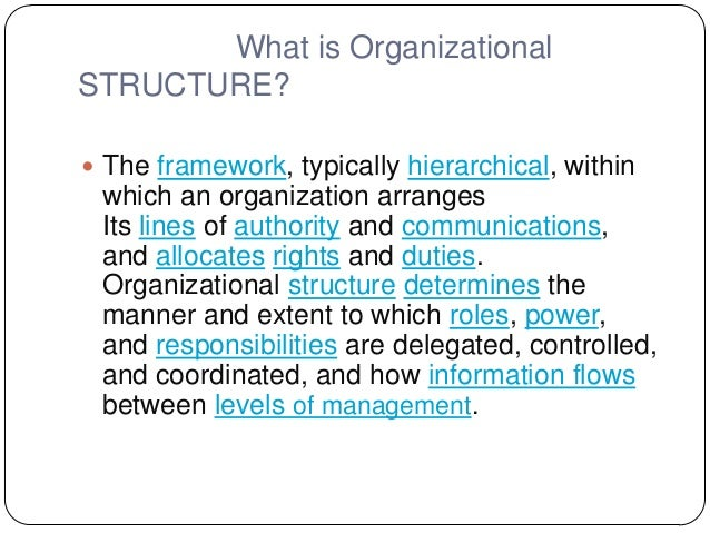 What is OrganizationalSTRUCTURE? The framework, typically hierarchical, withinwhich an organization arrangesIts lines of ...