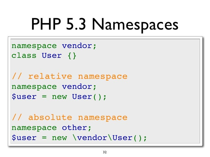 php namespace