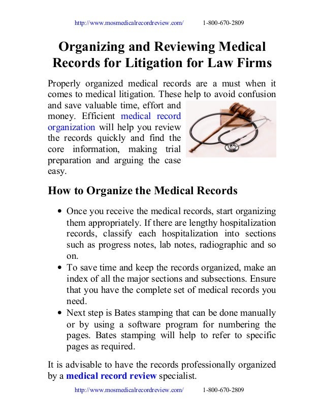 http://www.mosmedicalrecordreview.com/  1-800-670-2809  Organizing and Reviewing Medical Records for Litigation for Law Fi...
