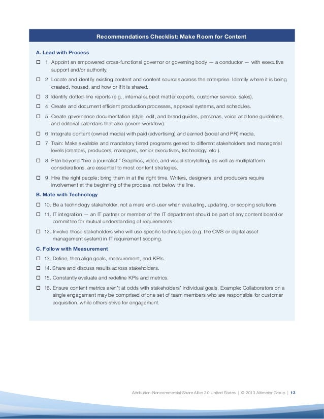 Attribution-Noncommercial-Share Alike 3.0 United States | © 2013 Altimeter Group | 13 Recommendations Checklist: Make Roo...