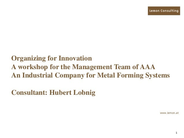 1 Organizing for Innovation A workshop for the Management Team of AAA An Industrial Company for Metal Forming Systems Cons...