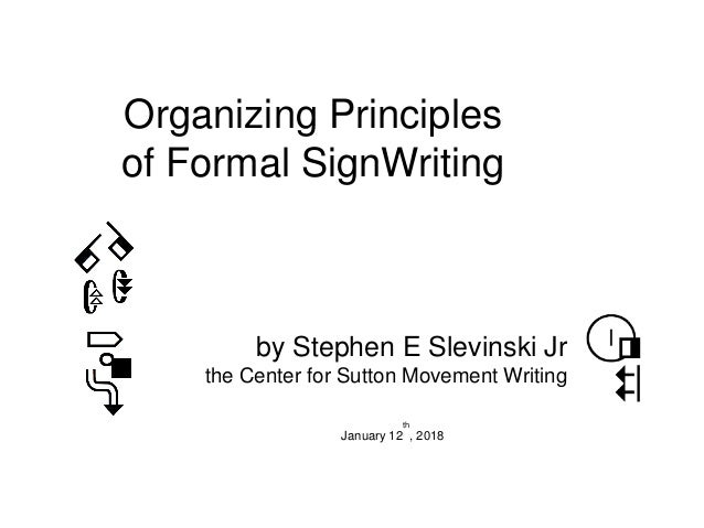 Organizing Principles of Formal SignWriting by Stephen E Slevinski Jr the Center for Sutton Movement Writing January 12 th...