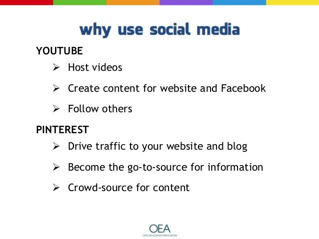 YOUTUBE  Host videos  Create content for website and Facebook  Follow others PINTEREST  Drive traffic to your website ...