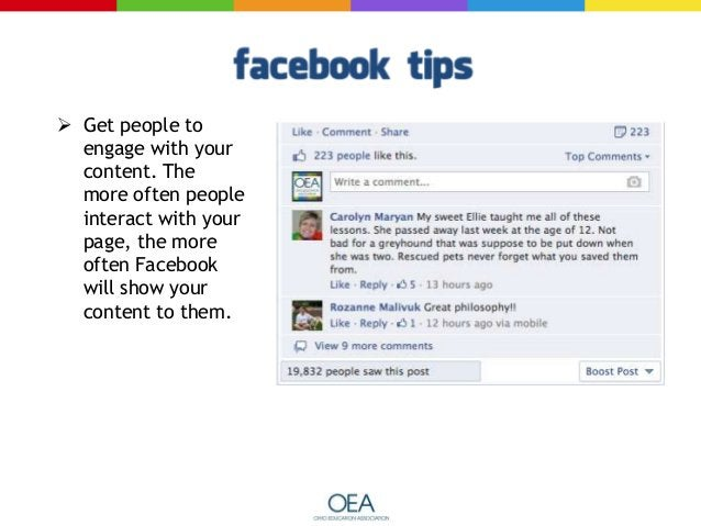 It bears repeating: Post tons of images!   Make a graphic out of information instead of just typing it in the status upda...