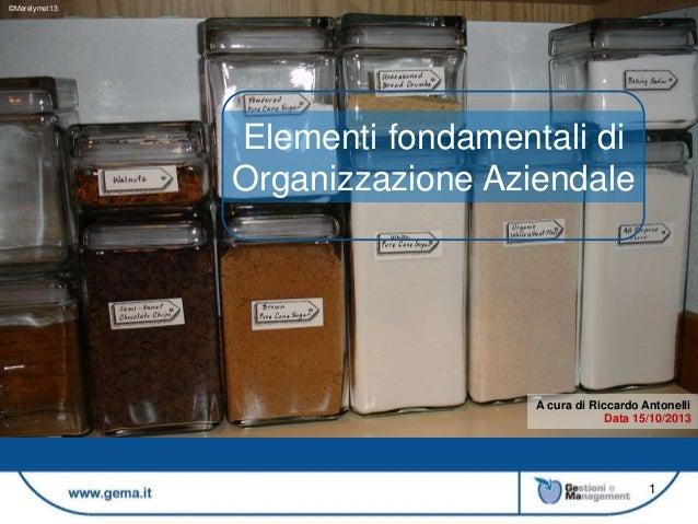 ©Merelymel13  Elementi fondamentali di Organizzazione Aziendale  A cura di Riccardo Antonelli Data 15/10/2013  1