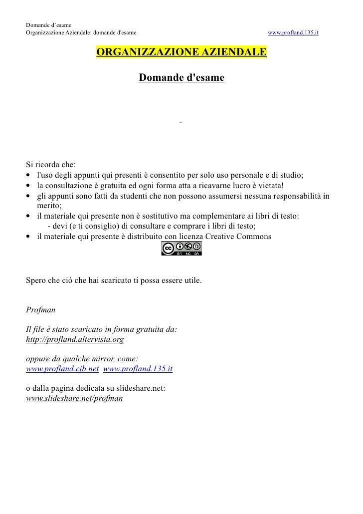 Domande d'esame Organizzazione Aziendale: domande d'esame                             www.profland.135.it                 ...