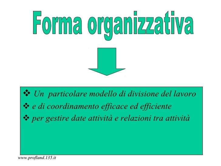  Un particolare modello di divisione del lavoro   e di coordinamento efficace ed efficiente   per gestire date attività...