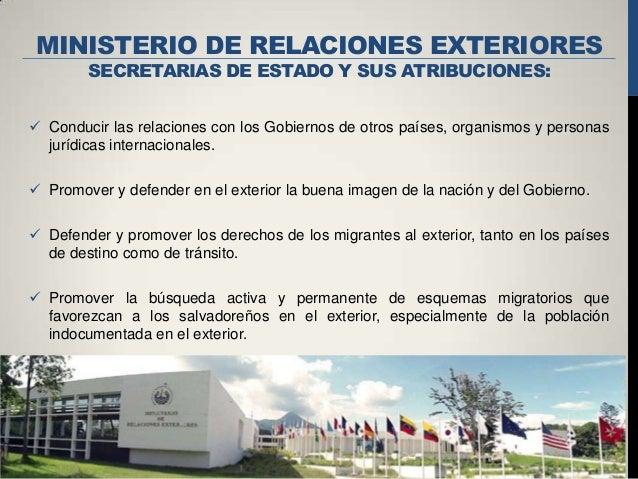 Organo ejecutivo de la republica de el salvador for Oposiciones ministerio de exteriores