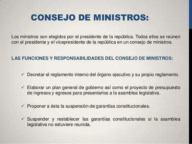 Organo ejecutivo de la republica de el salvador for Clausula suelo consejo de ministros