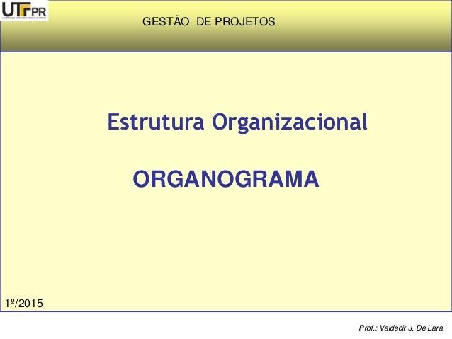 Estrutura Organizacional ORGANOGRAMA Prof.: Valdecir J. De Lara GESTÃO DE PROJETOS 1º/2015