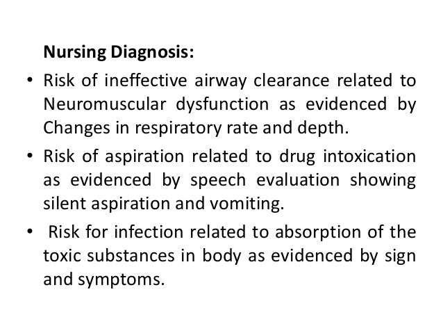 Nursing Diagnosis: • Risk of ineffective airway clearance related to Neuromuscular dysfunction as evidenced by Changes in ...