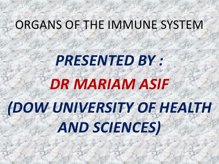 ORGANS OF THE IMMUNE SYSTEM     PRESENTED BY :    DR MARIAM ASIF(DOW UNIVERSITY OF HEALTH      AND SCIENCES)