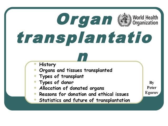 Organtransplantation History Organs and tissues transplanted Types of transplant Types of donor Allocation of donated...