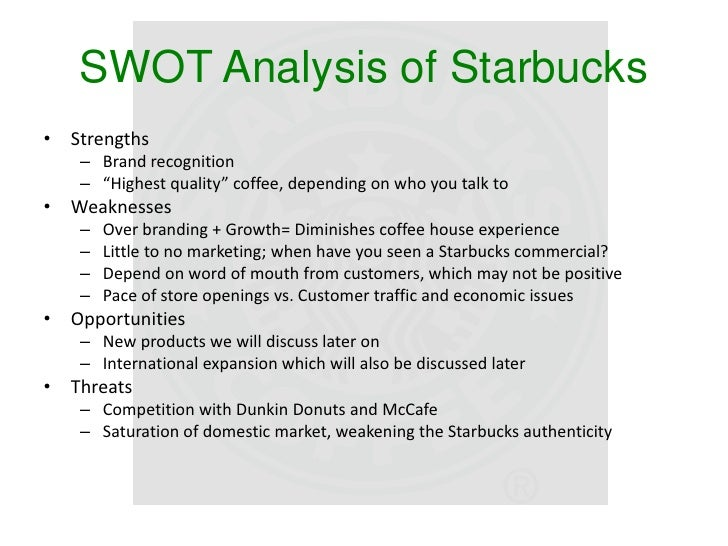 Starbucks Coffee Company SWOT Analysis & Recommendations