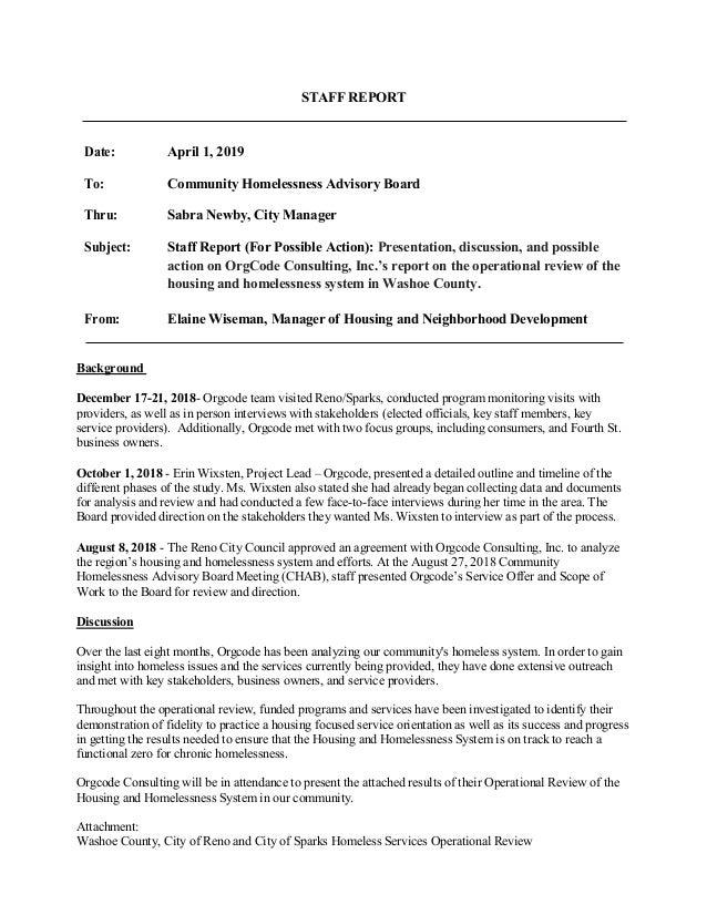 STAFF REPORT Date: April 1, 2019 To: Community Homelessness Advisory Board Thru: Sabra Newby, City Manager Subject: Staff ...