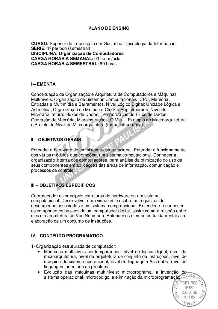 PLANO DE ENSINOCURSO: Superior de Tecnologia em Gestão da Tecnologia da InformaçãoSÉRIE: 1º período (semestral)DISCIPLINA:...