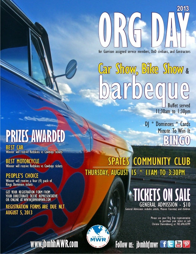 SPATES COMMUNITY CLUB THURSDAY, AUGUST 15 * 11AM TO 3:30PM ORG DAY 2013 Car Show, Bike Show& barbequeBuffet served 11:30am...
