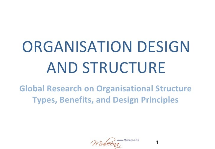 ORGANISATION DESIGN AND STRUCTURE Global Research on Organisational Structure Types, Benefits, and Design Principles
