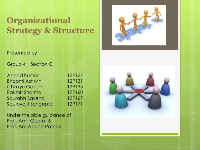 OrganizationalStrategy & StructurePresented byGroup 4 _ Section CAnand Kumar             12P127Bhoomi Ashwin           12P...