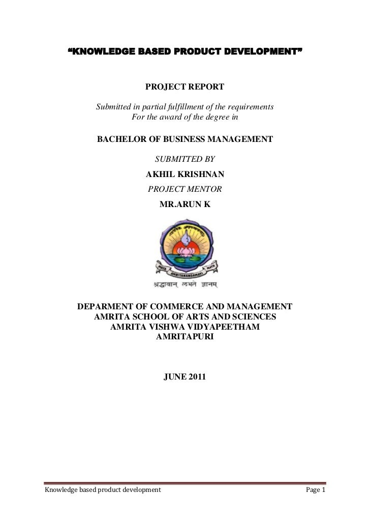 """""""KNOWLEDGE BASED PRODUCT DEVELOPMENT""""                              PROJECT REPORT               Submitted in partial fulfi..."""